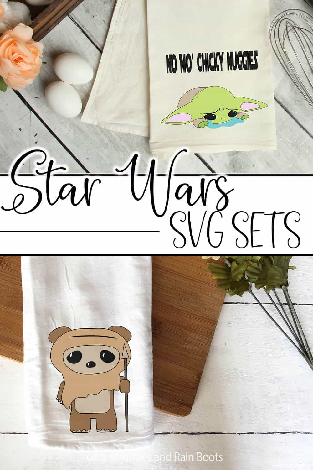 photo collage of baby ewok and baby yoda cut files for cricut or silhouette with text which reads star wars svg sets