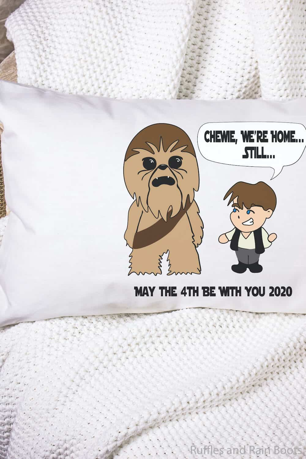 han and chewie cut files for cricut or silhouette on a pillow