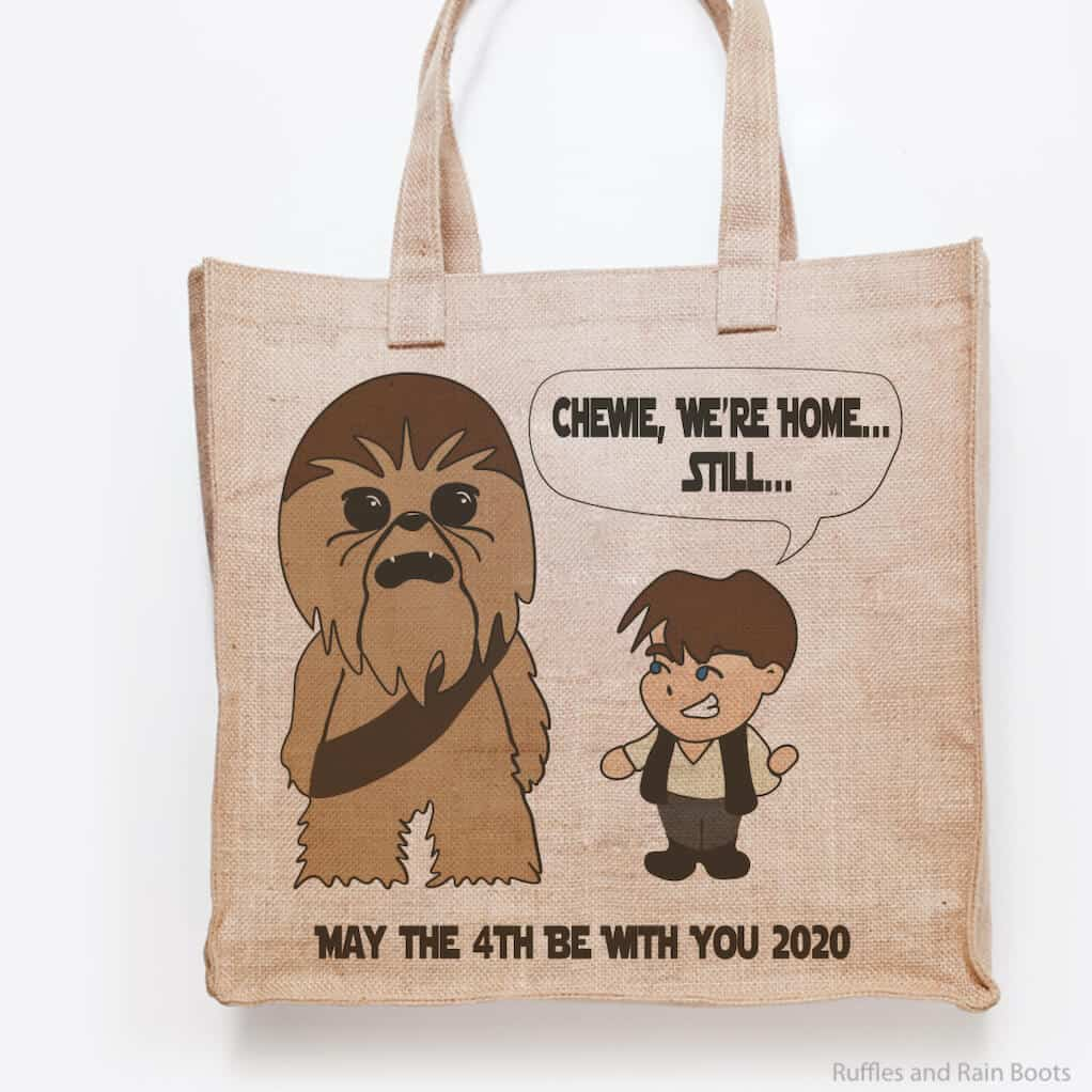han and chewie cut file for cricut or silhouette on a tote bag on a white background