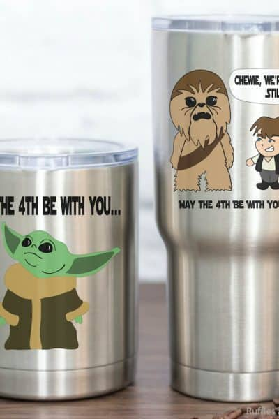 baby yoda cut file on a tumbler with a chewbacca and han solo cut file on a tumbler