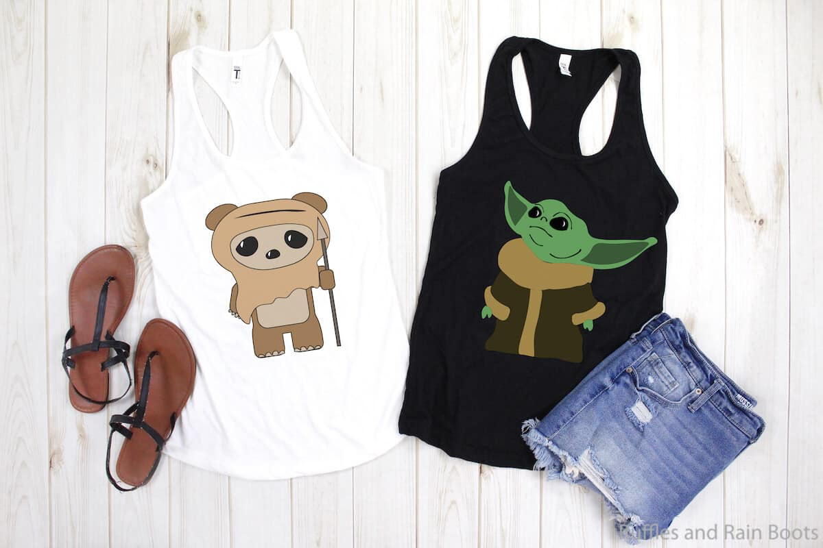 baby ewok cut file and baby yoda cut file on tank tops