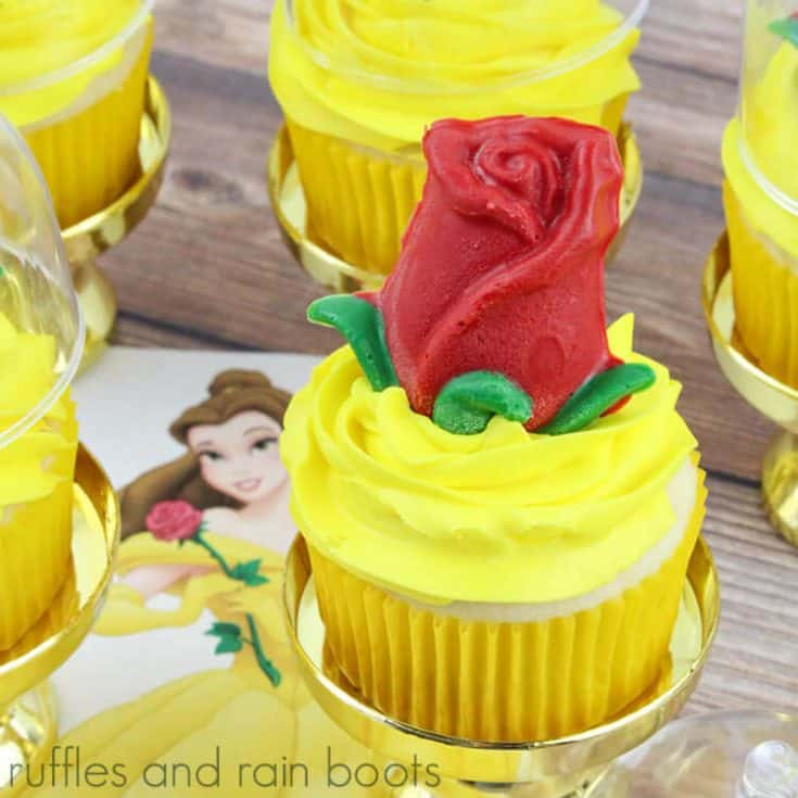 square image of a vanilla cupcake with yellow frosting and a red rose on top, sitting on a Princess Belle image.