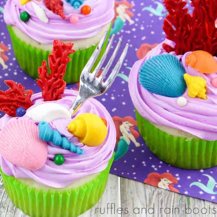 square image of dinglehopper cupcakes on a little mermaid background