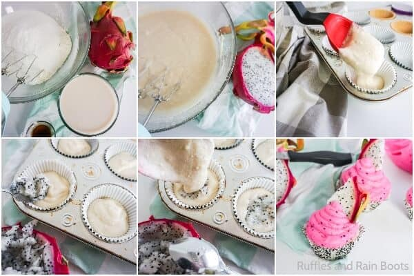 photo collage tutorial of how to make dragonfruit cupcakes