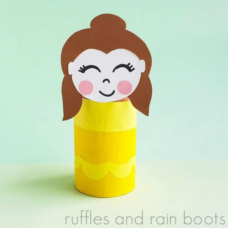 Square Image of Princess Belle Printable Paper Roll Craft on a light green background.