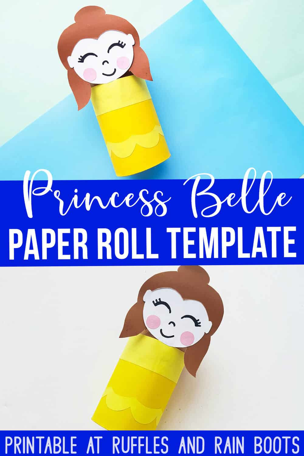 Princess Belle toilet paper roll craft on blue background with text which reads Princess Belle paper roll template