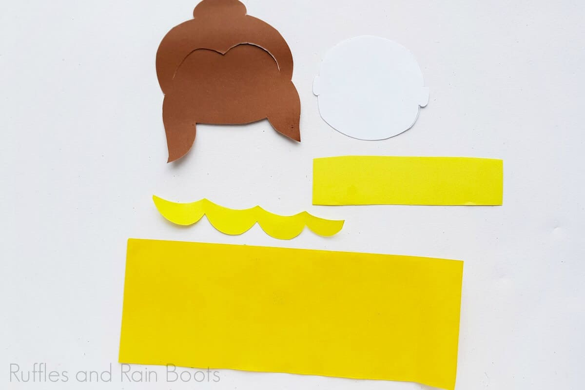 Process Image of all the pieces cut for Princess Belle Craft.