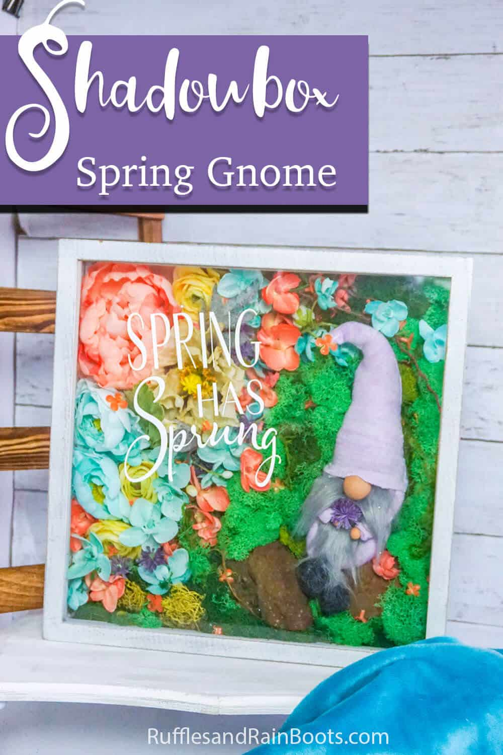 spring shadowbox craft with text which reads shadowbox spring gnome
