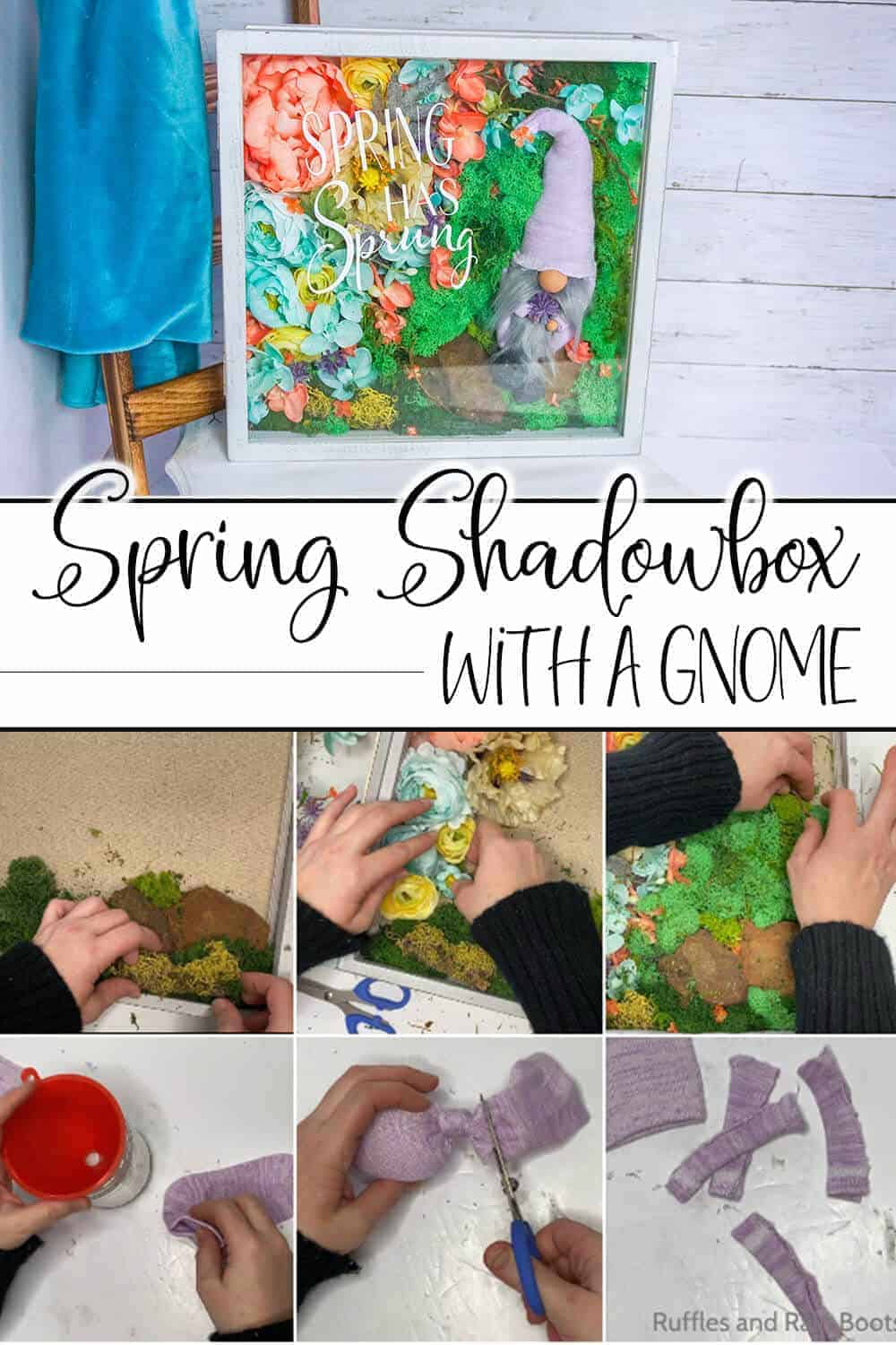 photo collage of easy tutorial to make a spring gnome shadowbox with text which reads spring shadowbox with a gnome