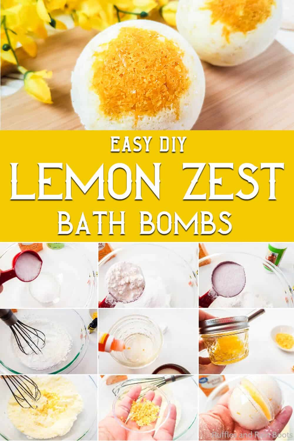 photo collage of lemonade bath bombs with text which reads easy diy lemon zest bath bombs