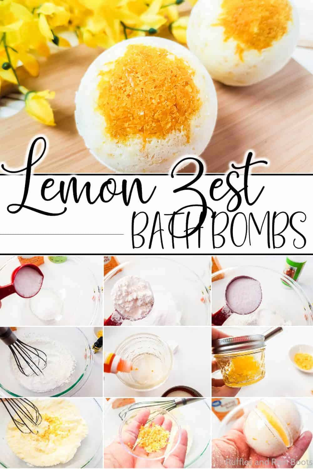 photo collage of easy bath bombs with lemon with text which reads lemon zest bath bombs