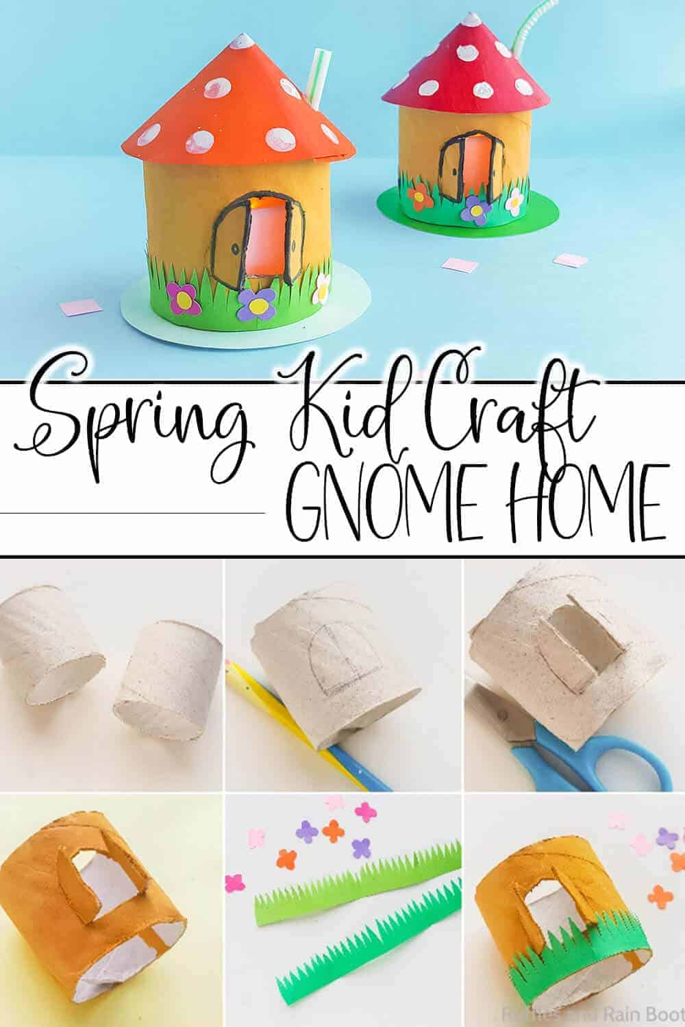 photo collage of easy kids garden gnome craft with text which reads spring kid craft gnome home