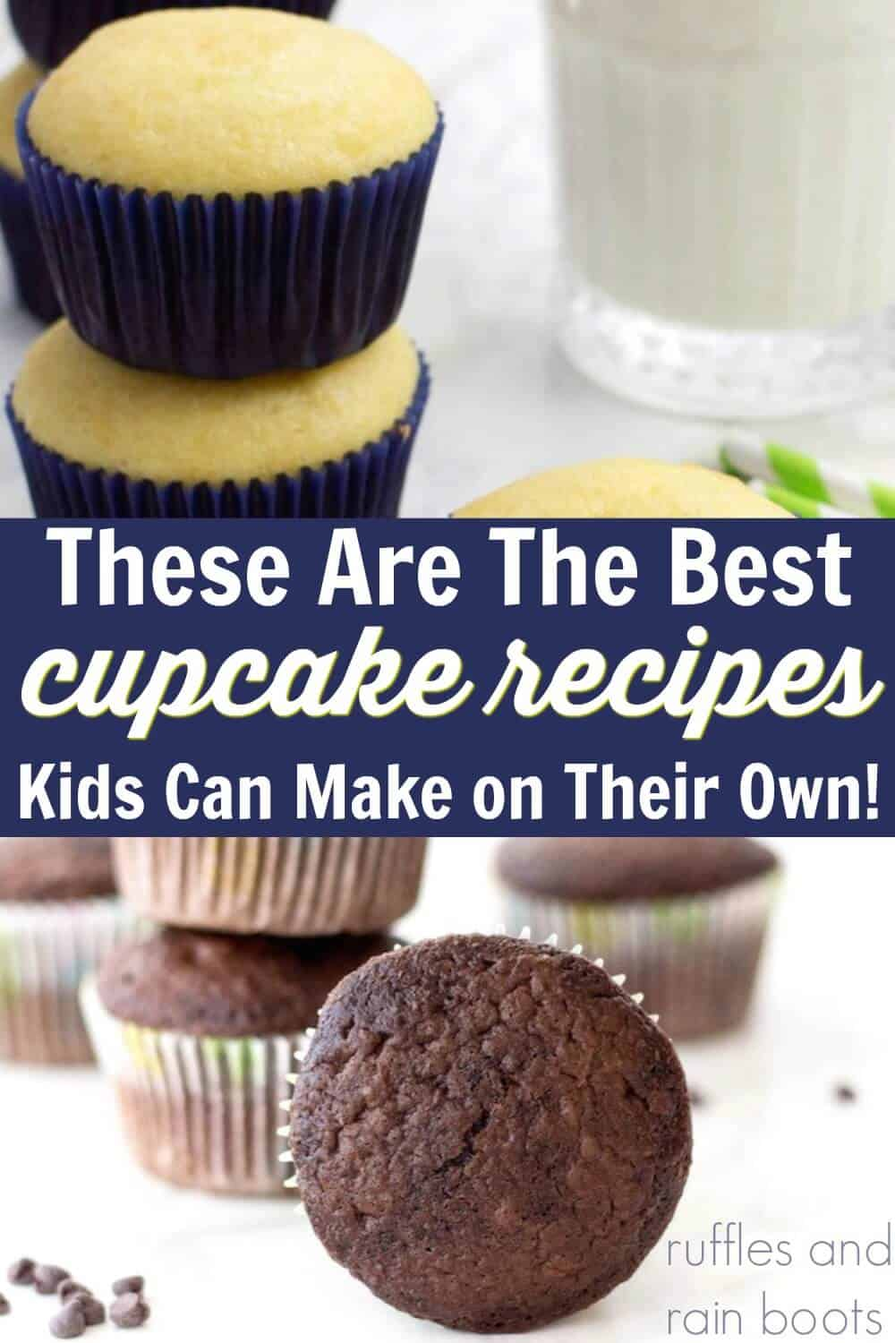 close up vanilla cupcake recipe for kids and an easy chocolate cupcake recipe the kids can make