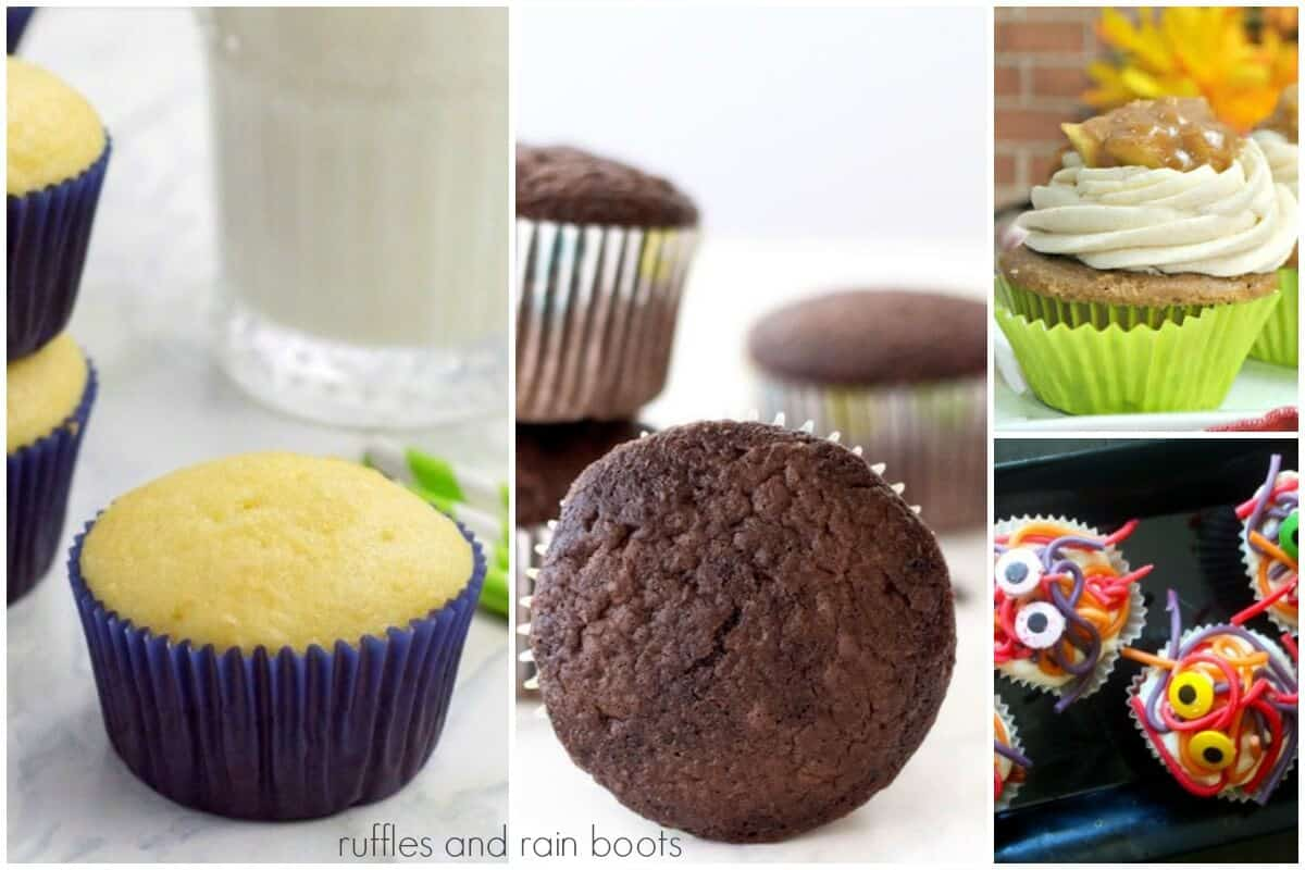 collage of vanilla cupcake recipe for kids, easy chocolate cupcake recipe, apple pie cupcake and vegan and gluten free cupcake on white background