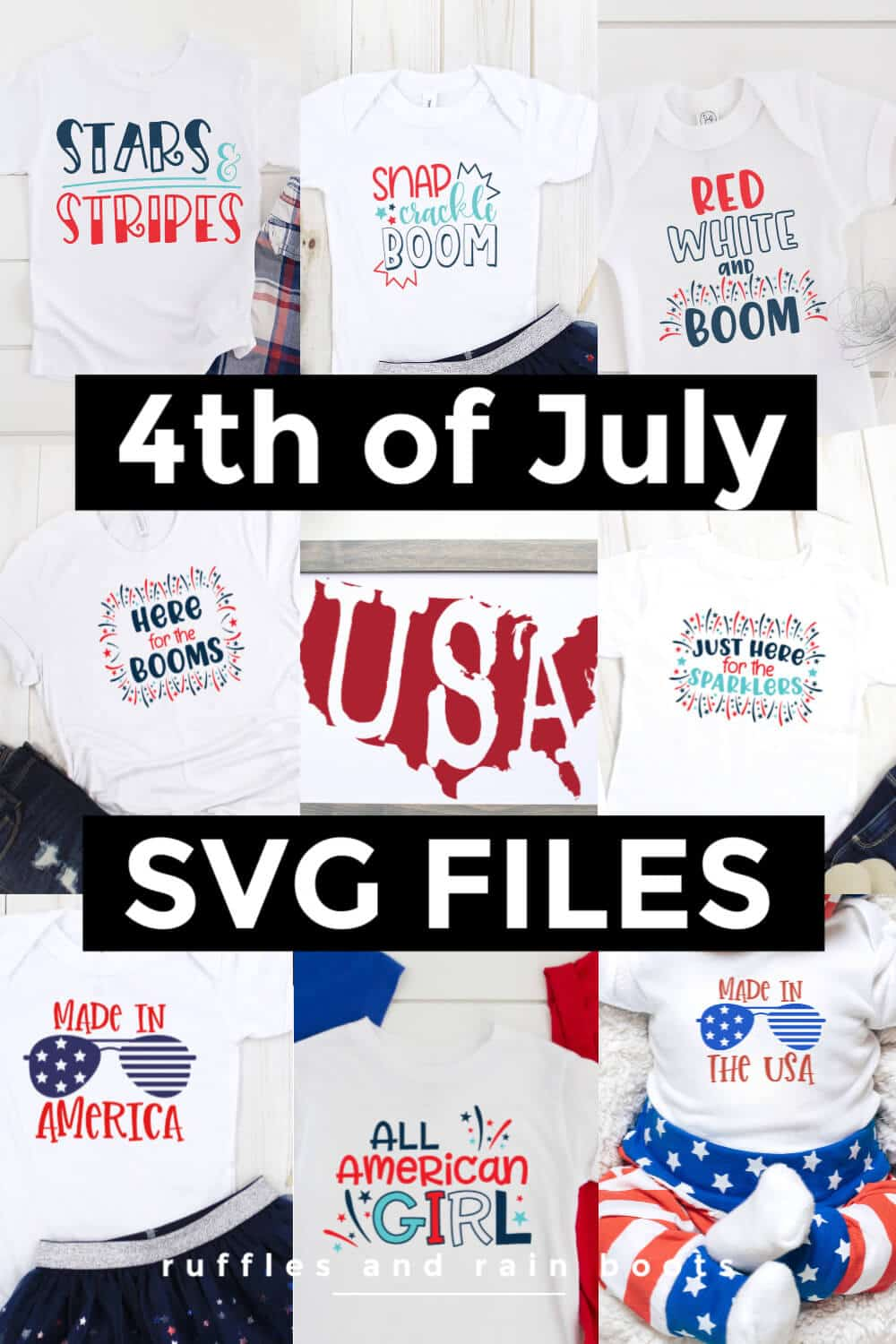 large photo collage of patriotic cut files with text which reads 4th of July SVG Files