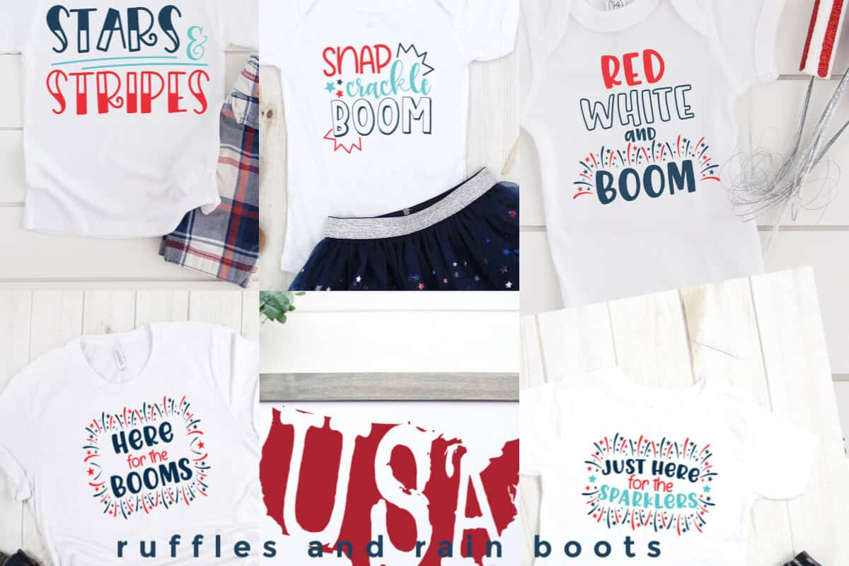 horizontal photo collage of 6 patriotic cut files on clothing with text which reads ruffles and rain boots