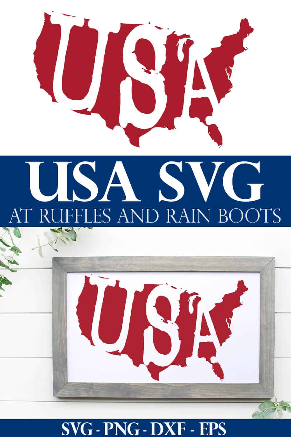 lightly distressed united states silhouette with USA cut out from it in a vintage design on white wood frame and background