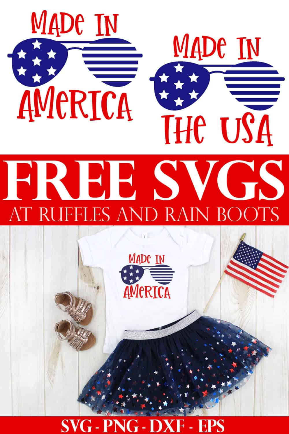 collage of made in the usa and made in America svg files for cutting machines and an adorable t shirt for kids made with cricut vinyl