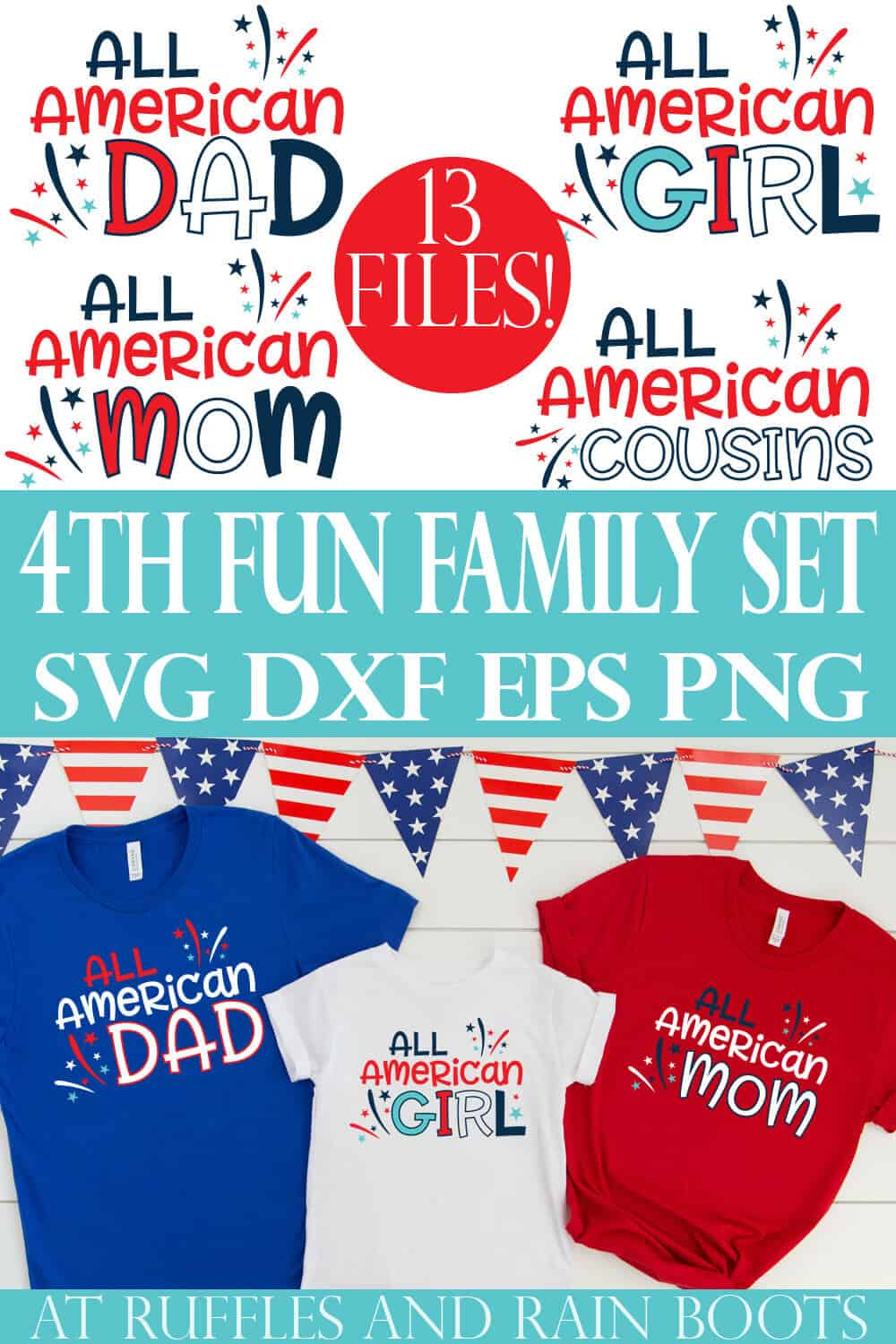 all American svg family set collage with photo of red white and blue t shirts made with Cricut vinyl on a white wood background with flag banner