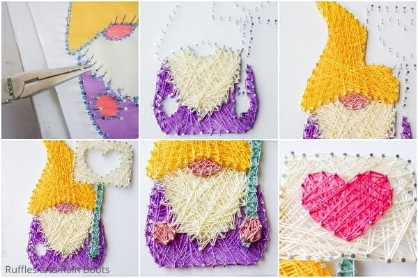 photo collage tutorial of how to make a gnome string art