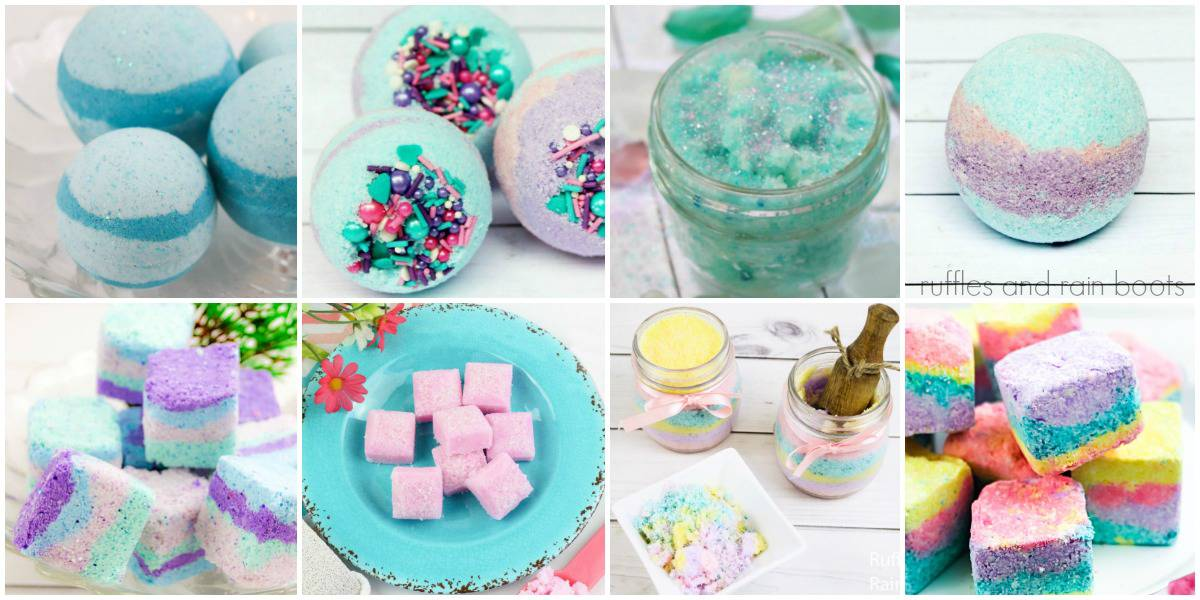 collage of bath bomb tutorials, shower fizzy tutorials, and sugar scrub tutorials in teal pink yellow