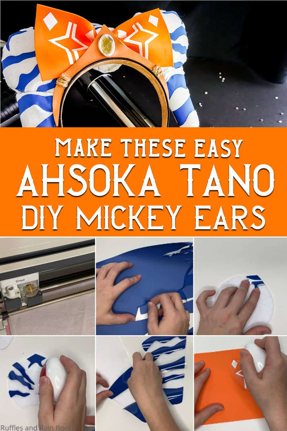 photo collage of star wars mickey ears diy pattern with text which reads make these easy ahsoka tano diy mickey ears