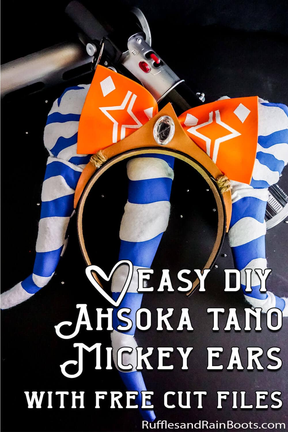 closeup of homemade ahsoka minnie ears for star wars galaxy's edge with text which reads easy diy ahsoka tano mickey with free cut files