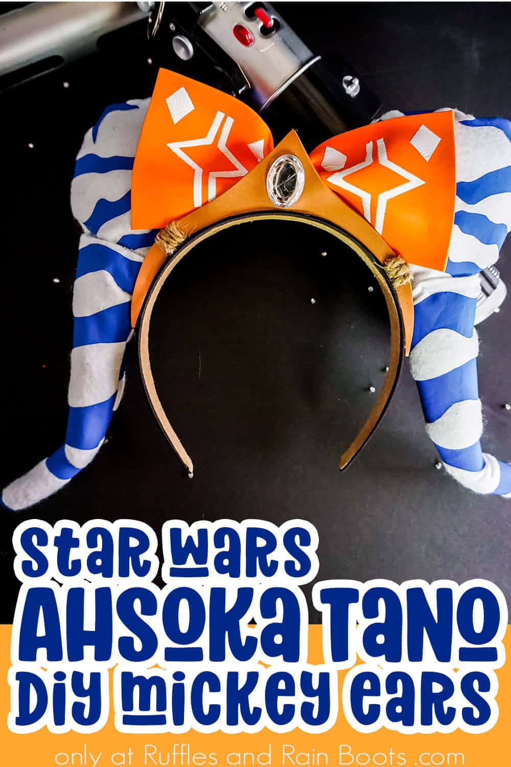 closeup of diy mickey ears for star wars galaxys edge with text which reads star wars ahsoka tano diy mickey ears