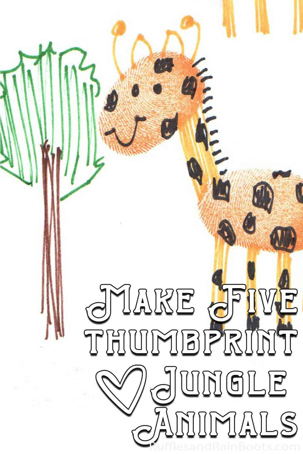 thumbprint giraffe drawn by a kid with text which reads make five thumbprint jungle animals