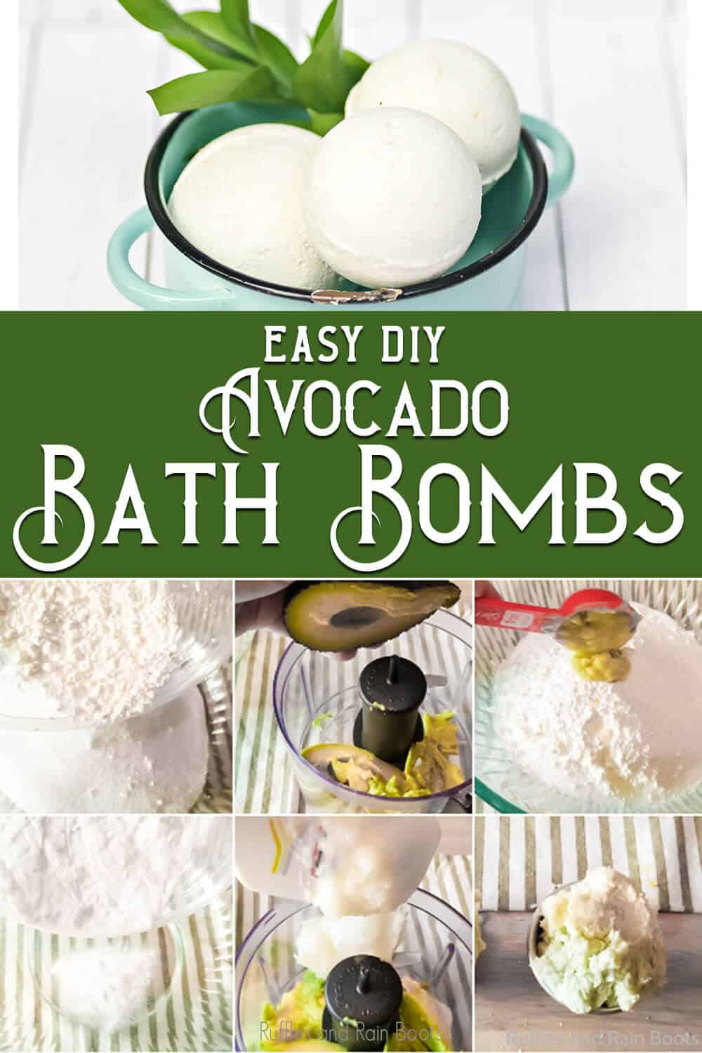 photo collage of fresh avocado bath bombs with text which reads easy diy avocado bath bombs