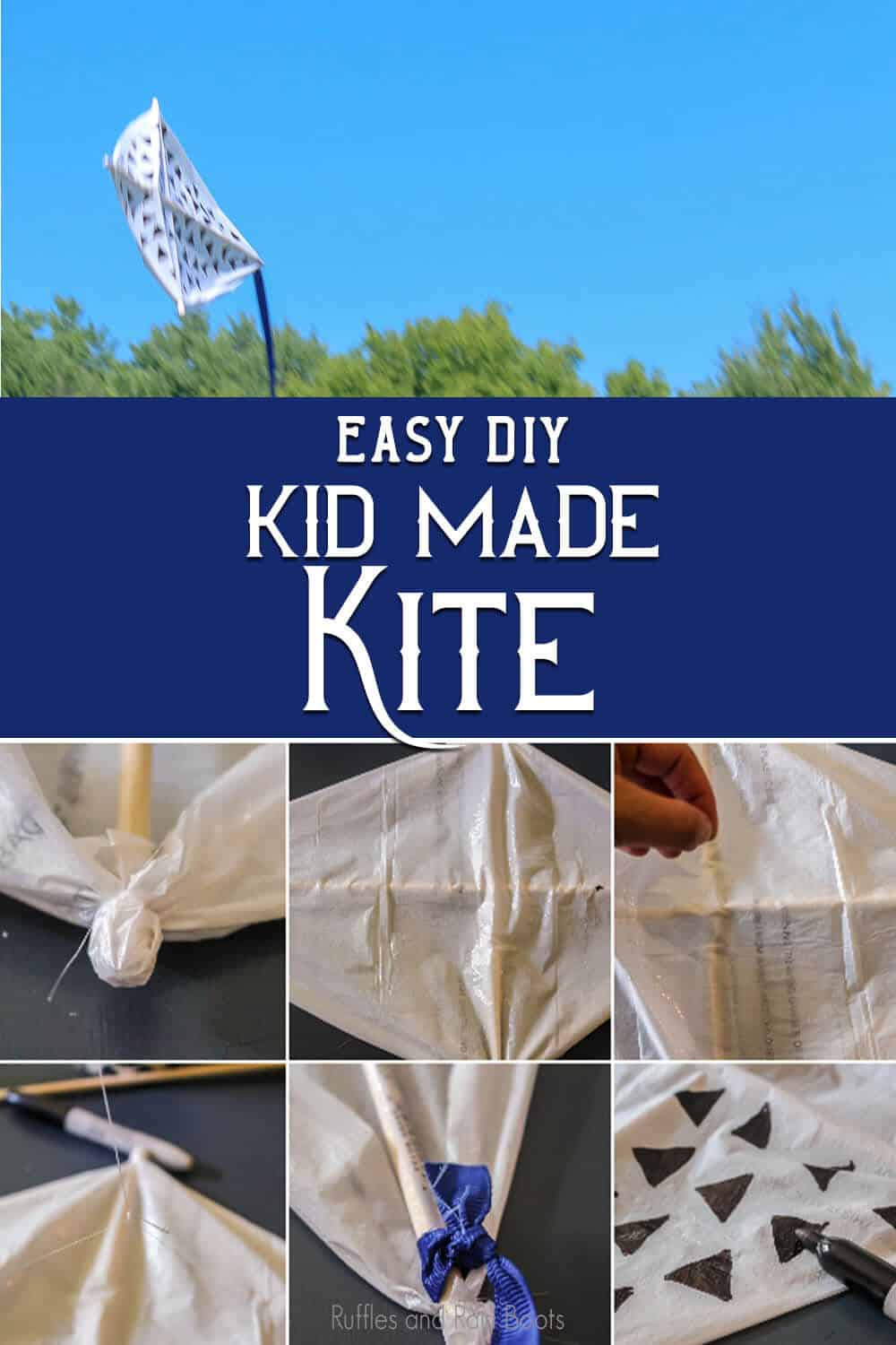 photo collage of easy DIY kite with text which reads easy diy kid made kite