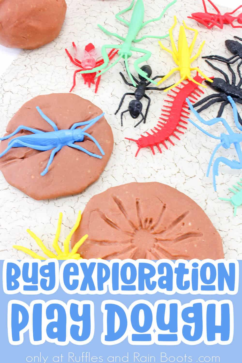 but play dough with text which reads bug exploration play dough