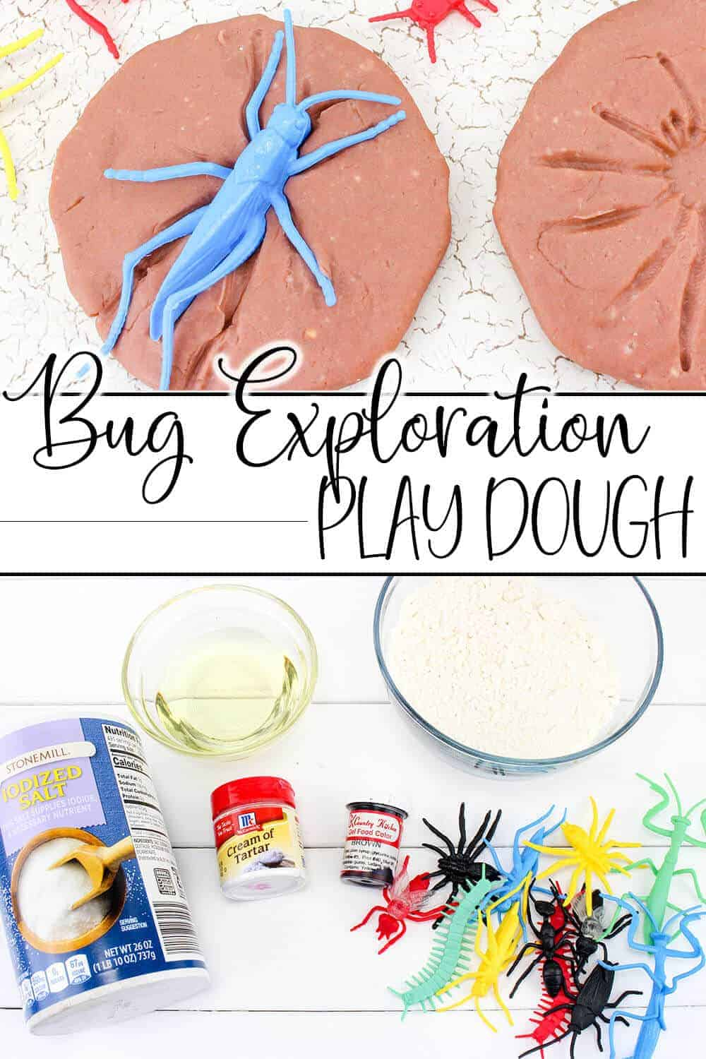 photo collage of easy homemade play dough with bugs with text which reads bug exploration play dough