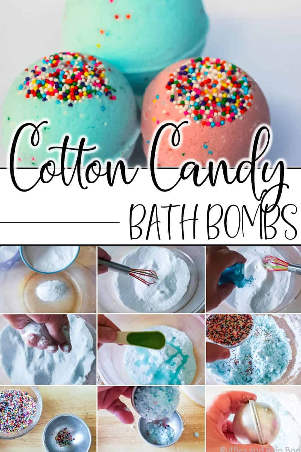 photo collage of easy cotton candy bath bomb recipe with text which reads cotton candy bath bombs