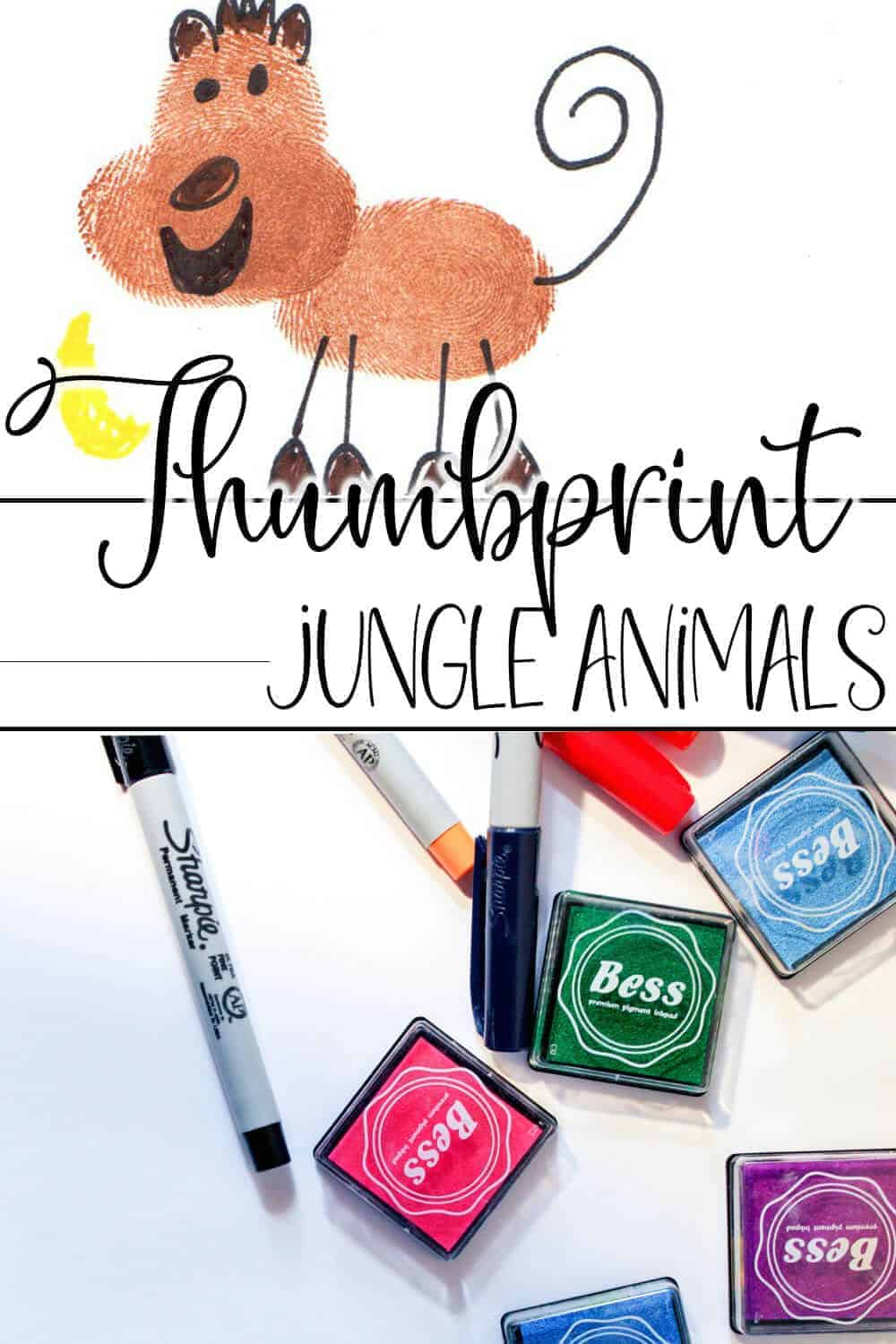 photo collage of how to draw a monkey with thumbprints with text which reads thumbprint animals