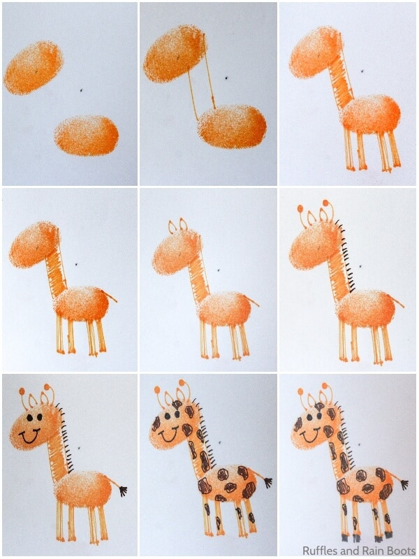 photo collage tutorial of how to draw a giraffe with a thumbprint base