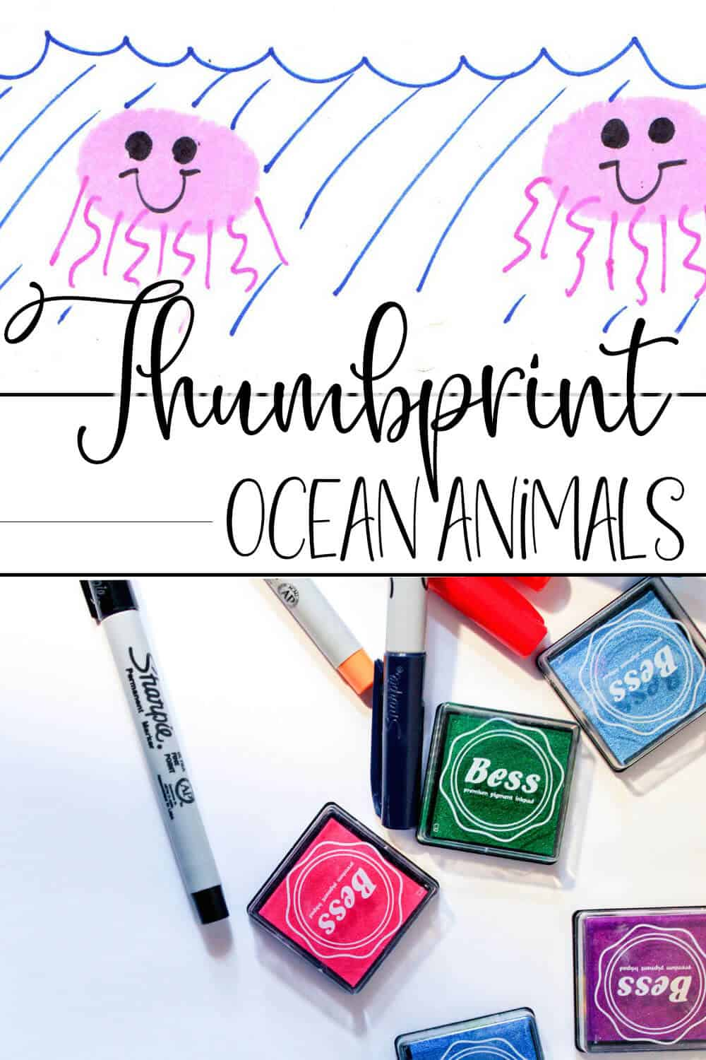 photo collage of how to draw a jellyfish with a thumbprint with text which reads thumbprint ocean animals