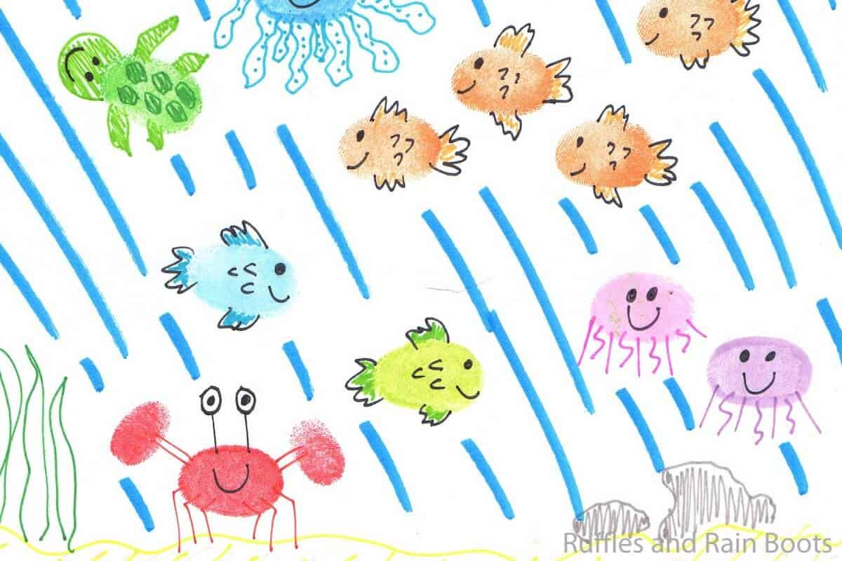 thumbprint ocean animals child drawing