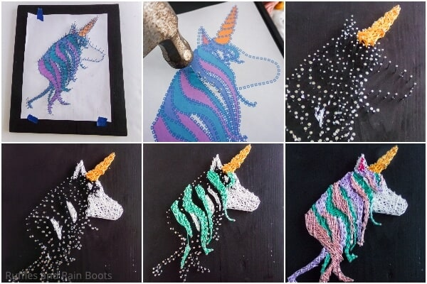 photo collage tutorial of how to make a unicorn string art