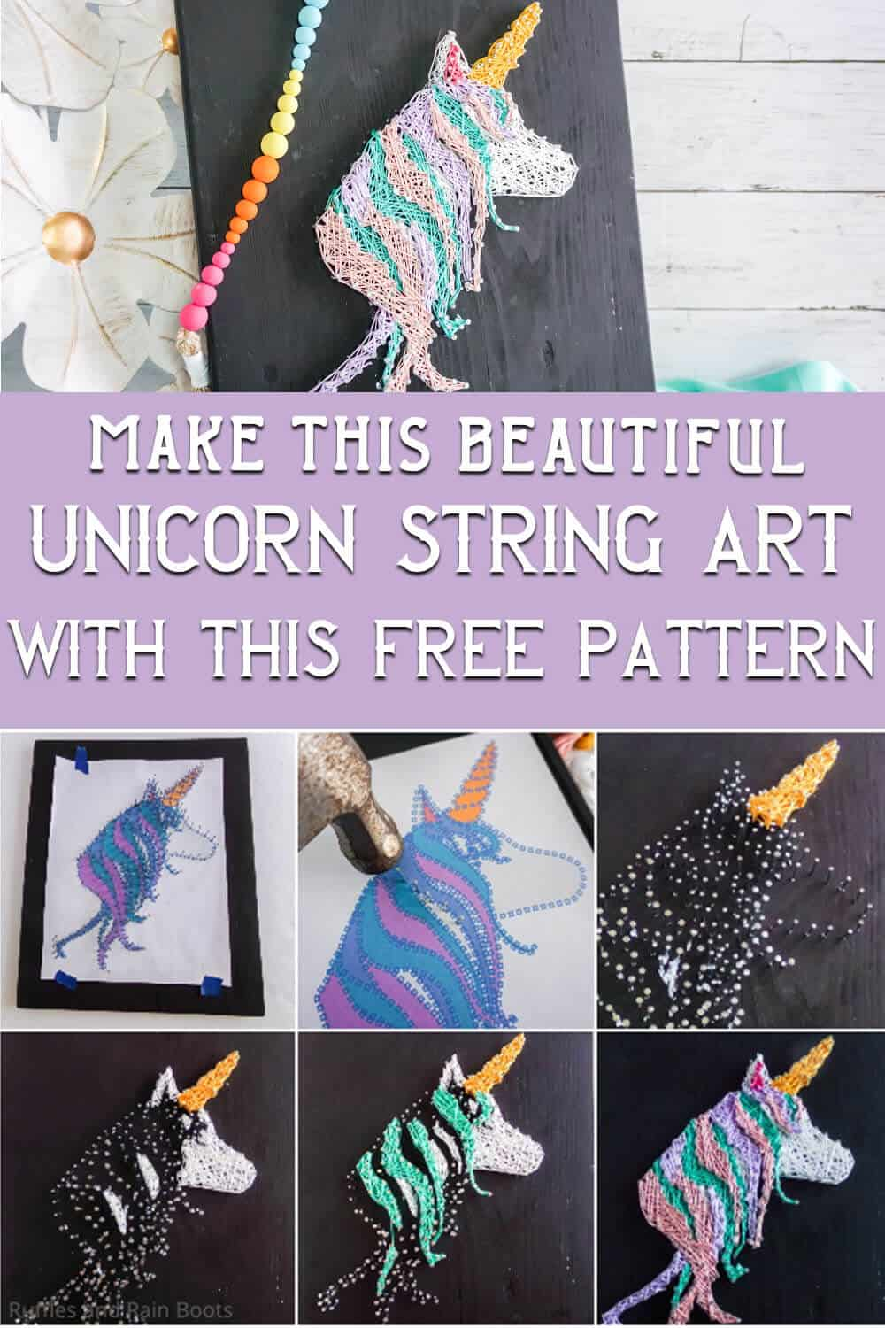 photo collage of easy string art unicorn with text which reads make this beautiful unicorn string art with this free pattern