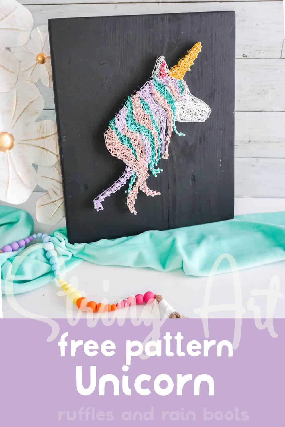 easy string art with unicorn with text which reads string art free pattern unicorn