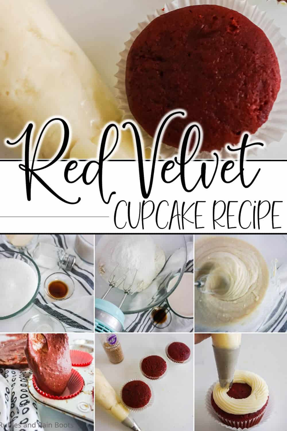 photo collage of no-fail red velvet cupcakes with text which reads red velvet cupcake recipe