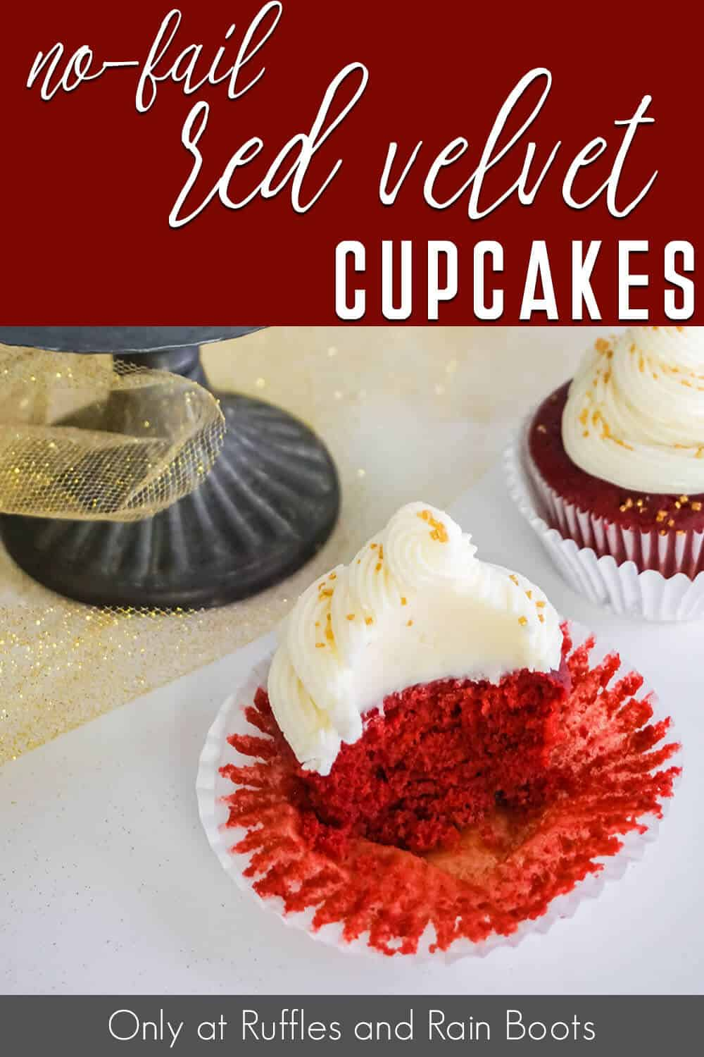 side view of red velvet cupcake cut open with text which reads no-fail red velvet cupcakes