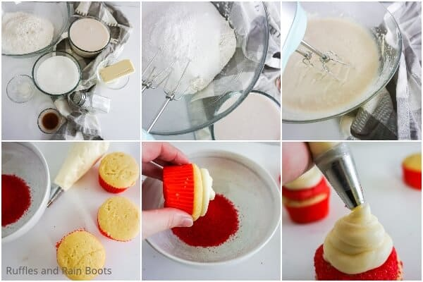 photo collage tutorial of how to make no-fail gluten-free cupcakes
