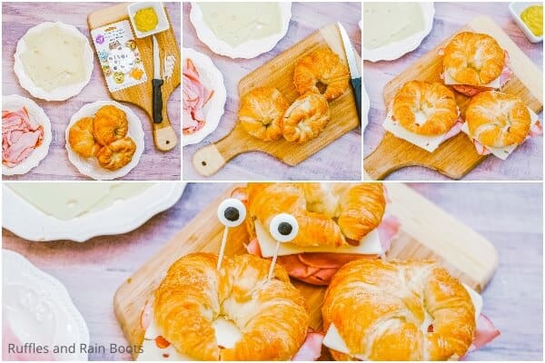 photo collage tutorial of how to make mermaid sandwiches
