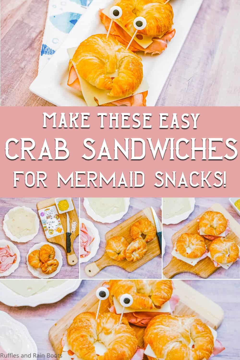 photo collage of mermaid food sandwich recipe with text which reads make these easy crab sandwiches for mermaid snacks