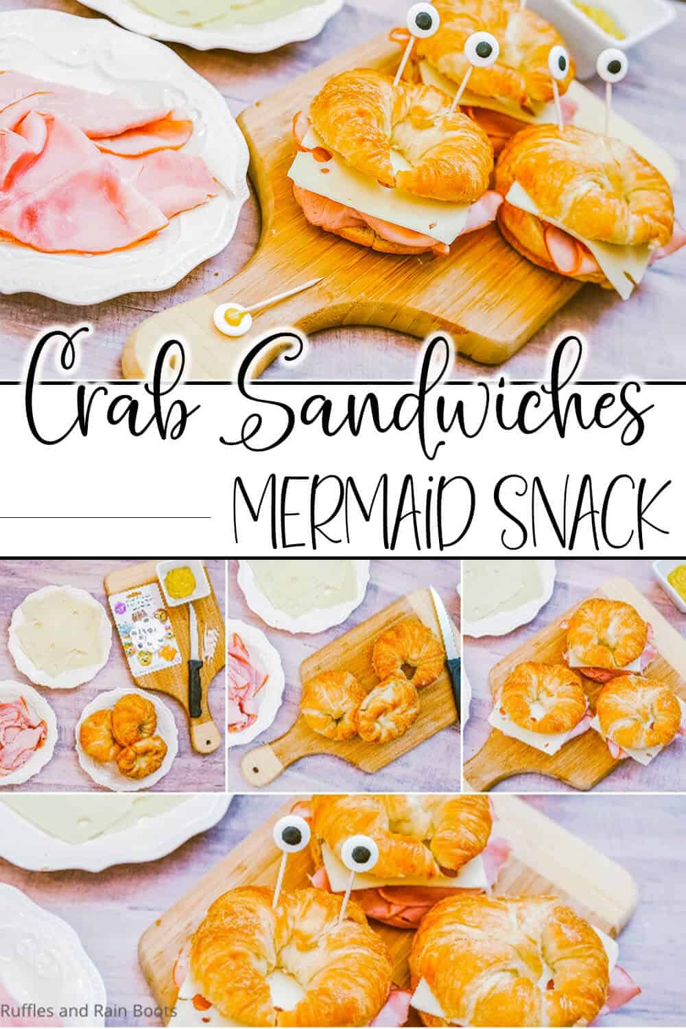photo collage of easy mermaid party food kids can make with text which reads crab sandwiches mermaid snack