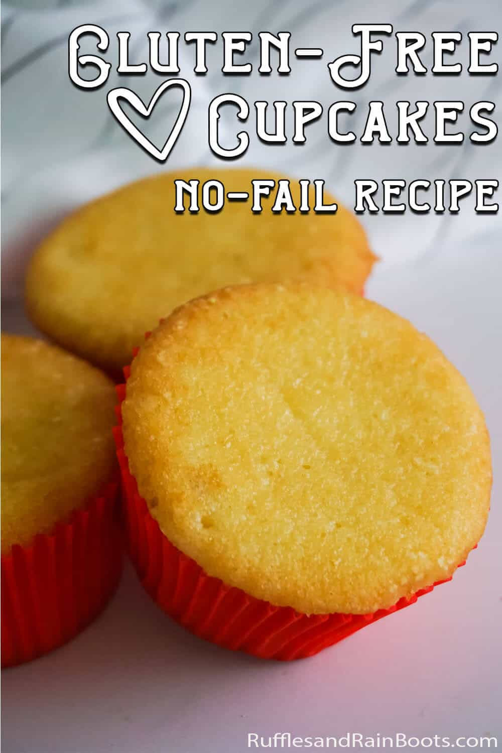 simple gluten-free cupcake recipe with text which reads gluten-free cupcakes no-fail recipe