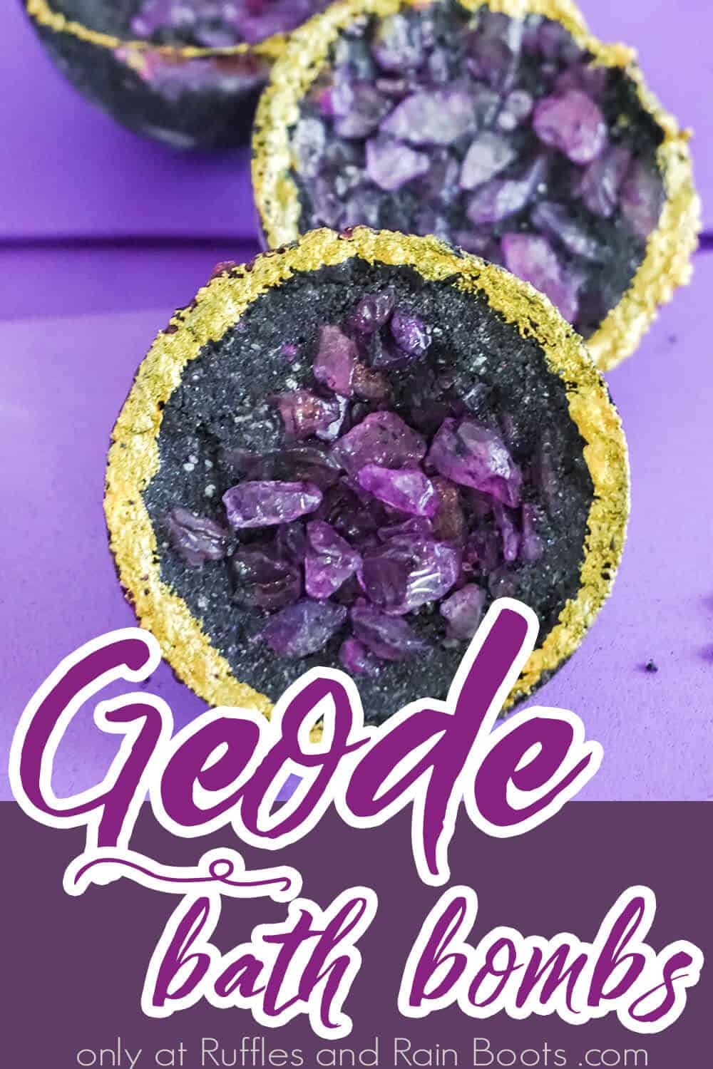 closeup of crystal bath bomb recipe with text which reads geode bath bombs