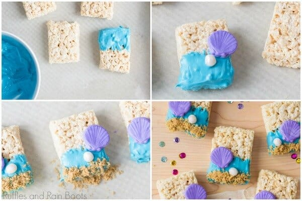 photo collage tutorial of step 2 how to make mermaid rice krispies for Ariel Little Mermaid Party